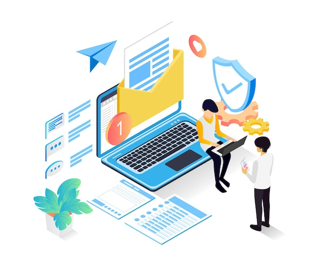 Isometric style illustration about email security service