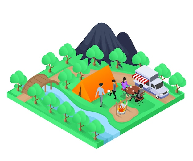 Isometric style illustration about a family choosing camping for their vacation