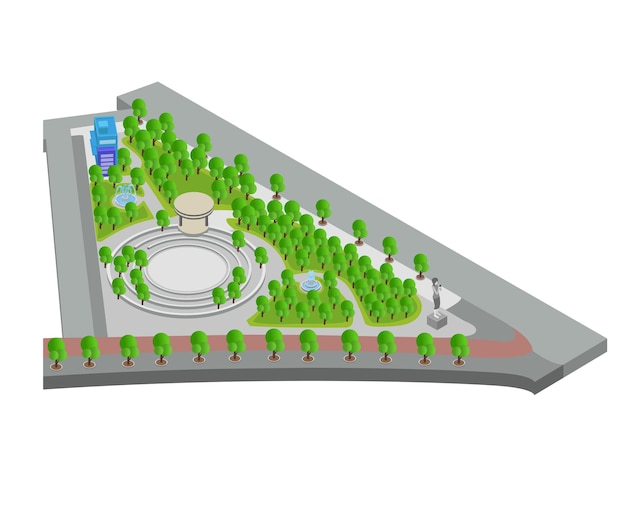 Isometric style illustration about a garden map with a fountain and a statue of a woman