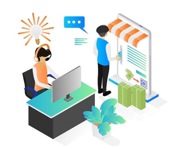 Isometric style illustration about isometric style illustration about a person playing online games