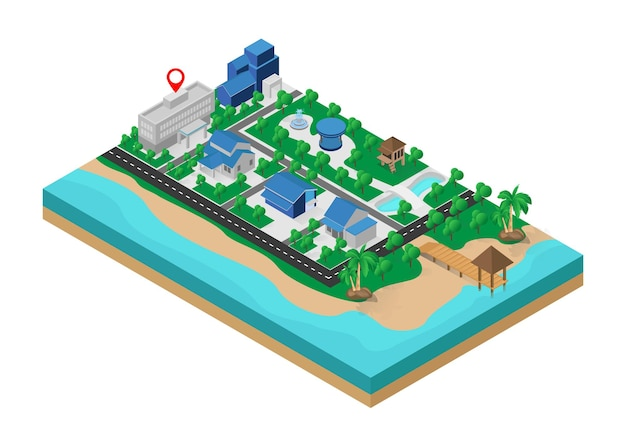 Isometric style illustration about a map of the location of a building in the middle city