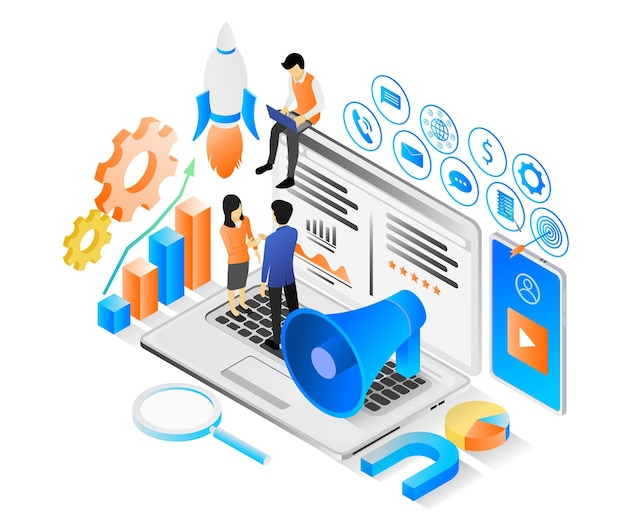Isometric style illustration about marketing strategy with funnel and character or laptop
