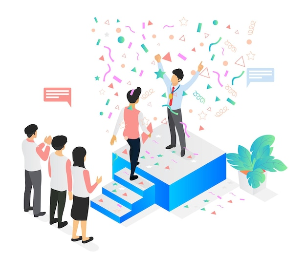 Isometric style illustration about successful business with someone on the podium