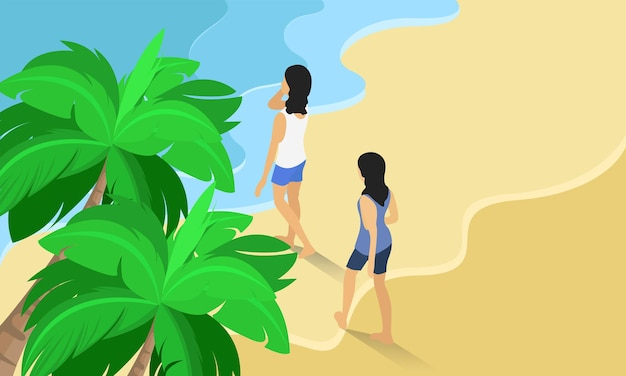 Isometric style illustration about two woman vacationing to the beach full of waves