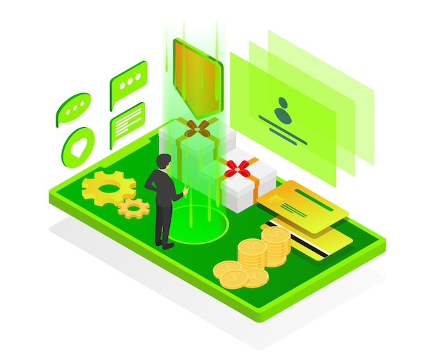 Isometric style illustration of account security and business transactions for app users