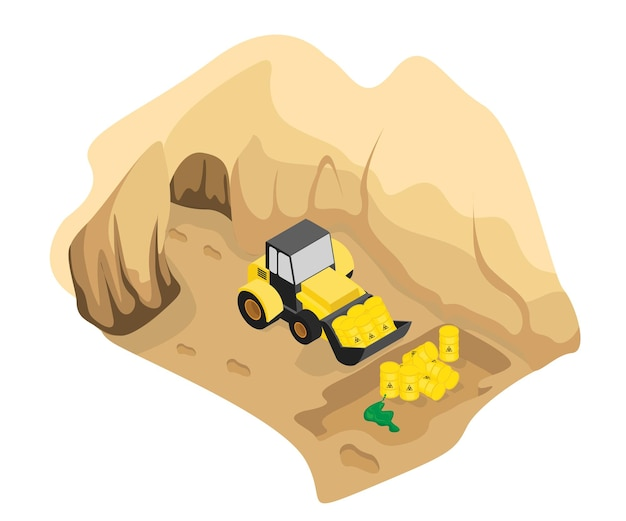 Isometric style illustration of bury toxic waste in the ground with heavy equipment
