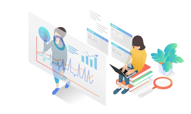 Isometric style illustration of business data analysis with characters and business guidebooks