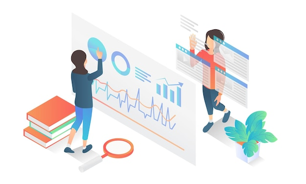 Isometric style illustration of business data analysis with characters
