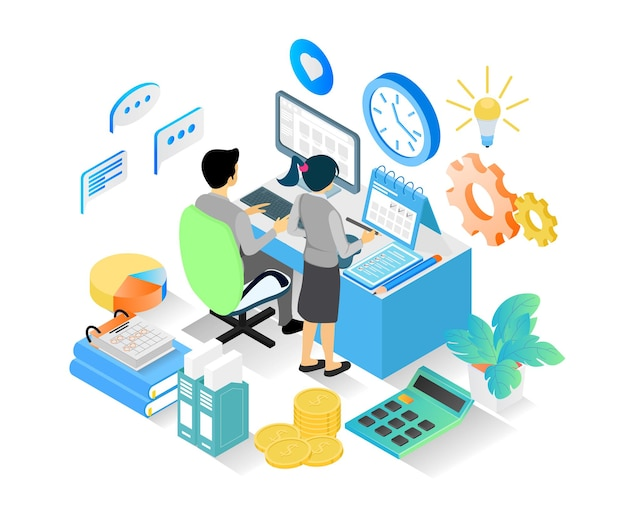 Isometric style illustration of business planning schedule with characters and computer