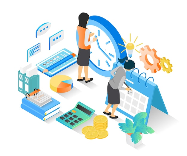 Isometric style illustration of business planning schedule with characters and date