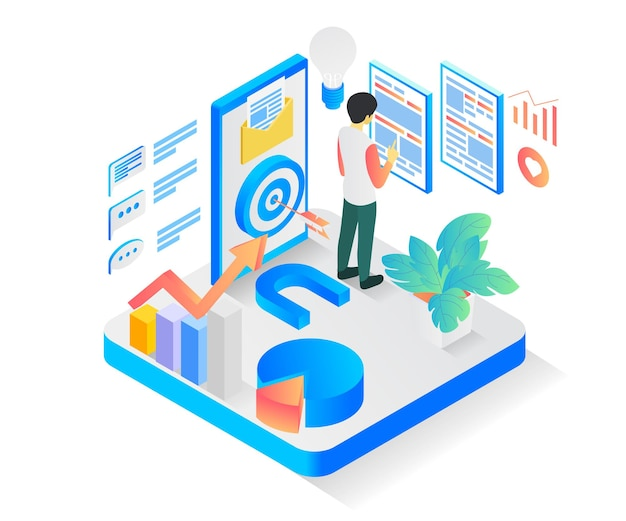 Isometric style illustration of a business strategy hitting the target