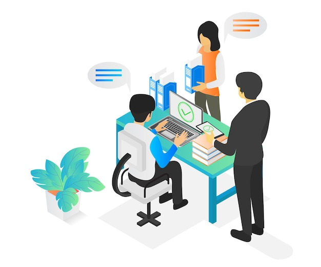 Isometric style illustration of a business team at working