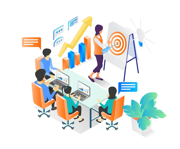 Isometric style illustration of a business training class or business education for a team