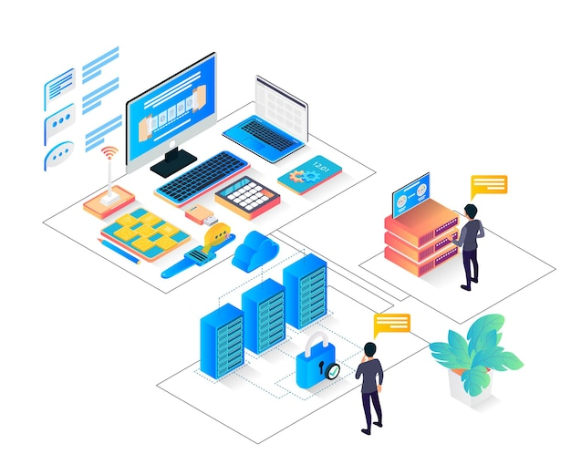 Isometric style illustration of cloud data storage with characters and big servers