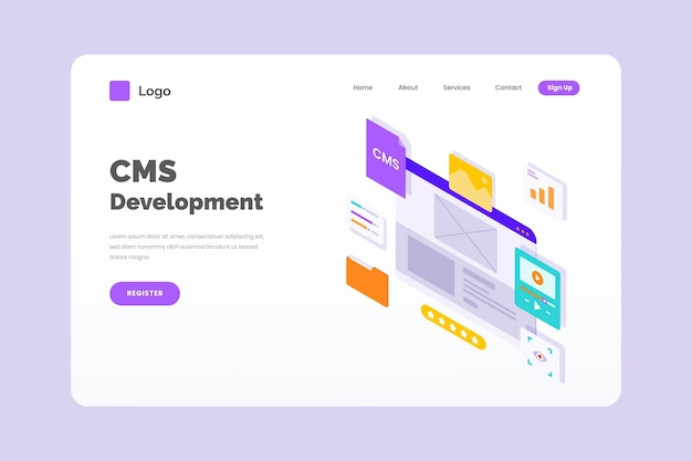 Isometric style illustration cms concept