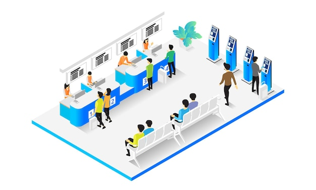 Isometric style illustration of customer service desk with several employees working
