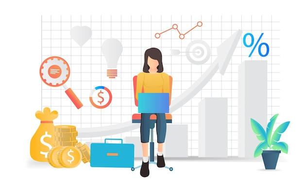 Isometric style illustration of data analysis business with characters and laptop or bar graph