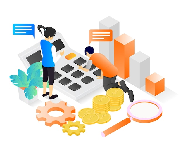 Isometric style illustration of financial planning for business