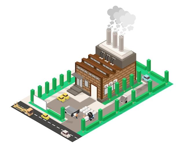 Изометрический стиль иллюстрации завода с его дымом и некоторыми рабочими также на улицах