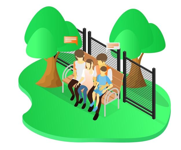 두 자녀와 함께 공원에서 휴가를 보내는 조화로운 가족의 아이소메트릭 스타일 그림