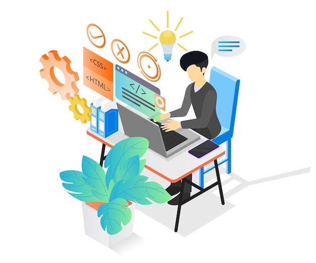 彼のコンピューターで作業しているプログラマーのアイソメトリックスタイルの図