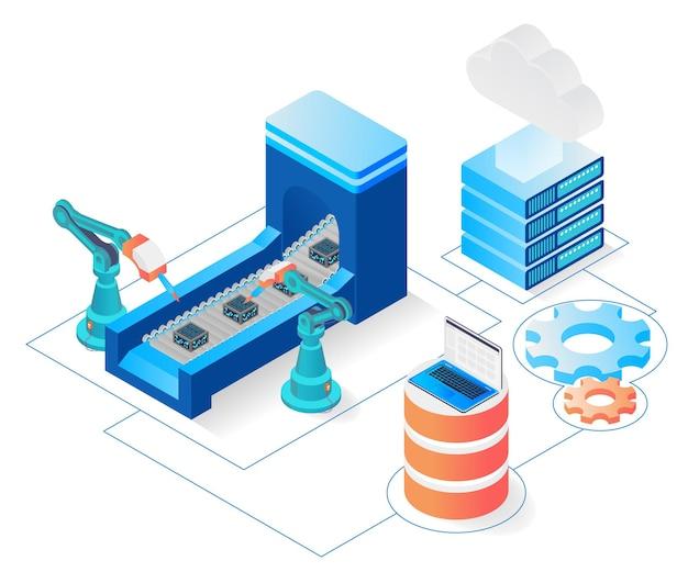 클라우드 스토리지를 통해 컴퓨터 명령을 사용하는 산업 기계의 아이소메트릭 스타일 그림