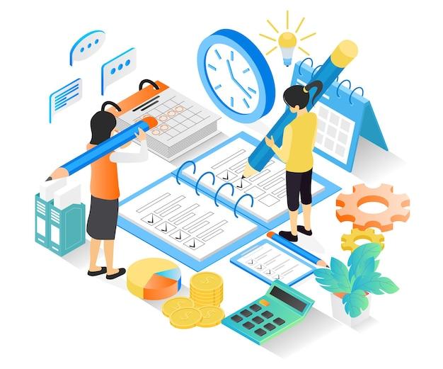 文字と日付で事業計画スケジュールのアイソメトリックスタイルの図