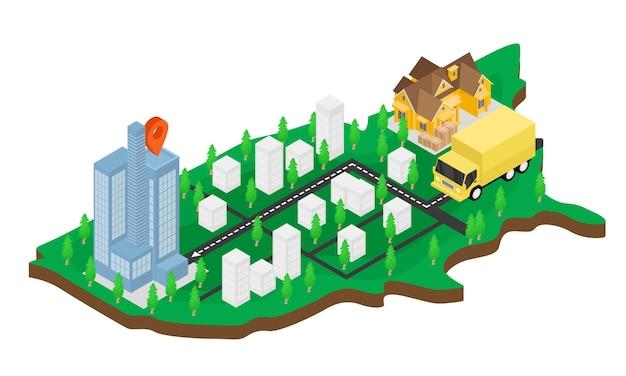 지도와 트럭이 있는 배달 주문의 아이소메트릭 스타일 그림