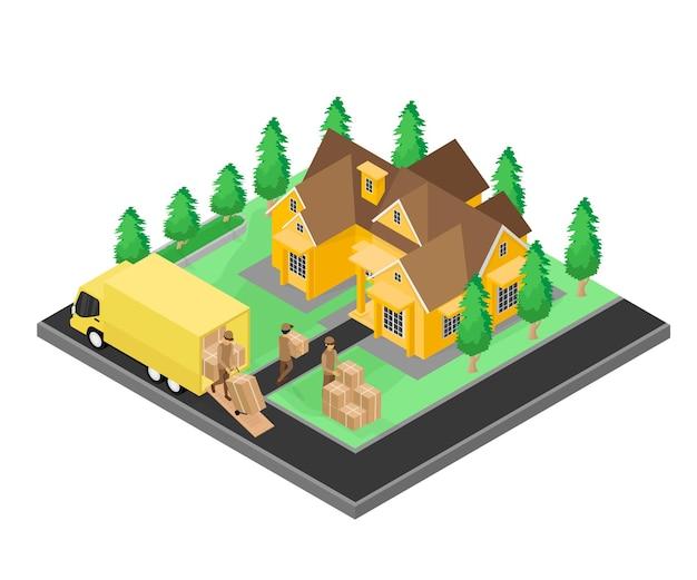 트럭과 스마트폰으로 배달 주문의 아이소메트릭 스타일 그림