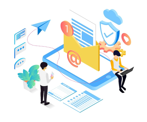 Изометрический стиль иллюстрации службы безопасности электронной почты