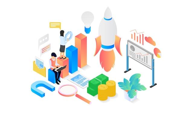 Изометрическая иллюстрация запуска запускающего приложения с ракетой и персонажем