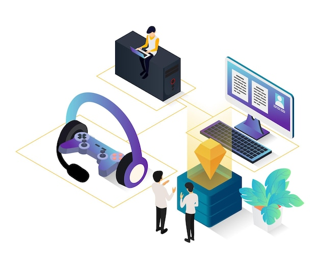 Isometric style illustration of online game with character and computer