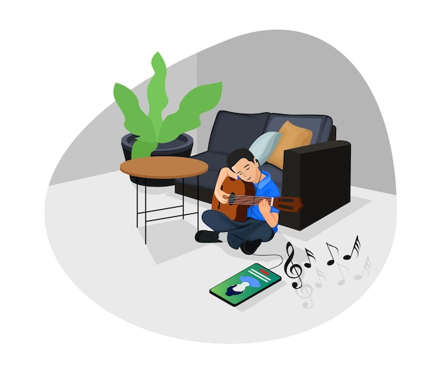 Isometric style illustration of online music learning