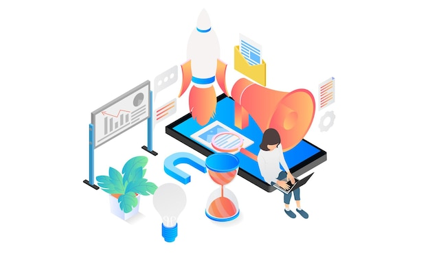 Isometric style illustration of startup app launch with rocket and smartphone