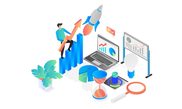 Isometric style illustration of startup application launch with rocket and laptop