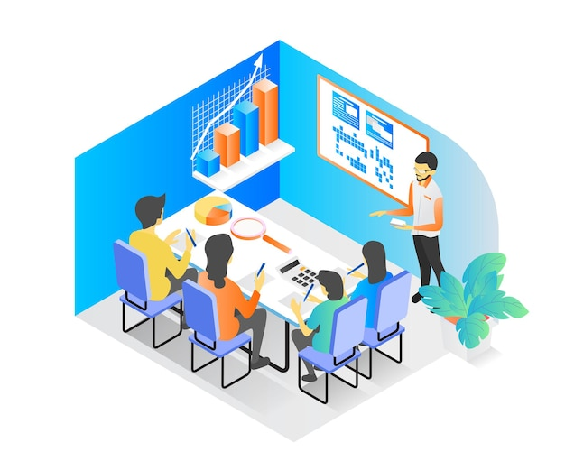 Isometric style illustration of successful business learning or business consulting