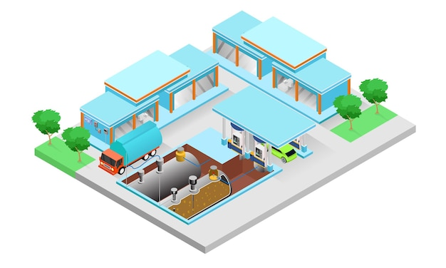 Isometric style illustration of a tanker truck refilling at a gas station