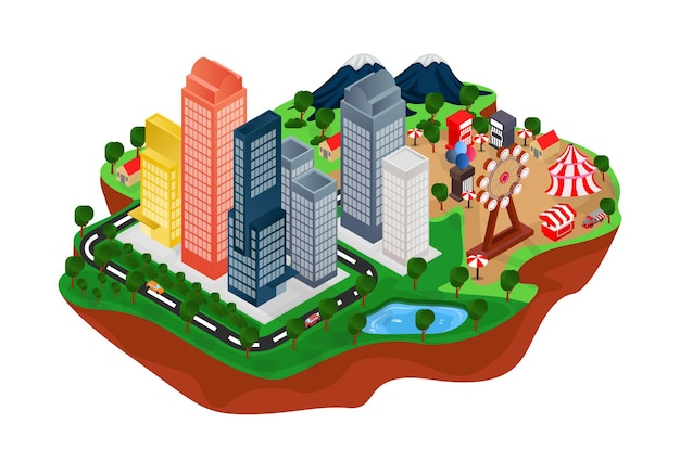 Isometric style illustration of urban map with green garden