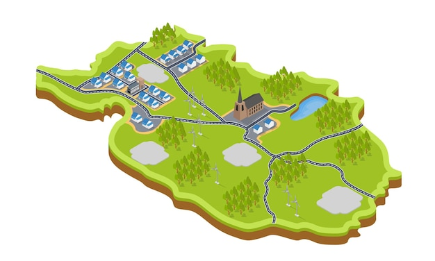 Isometric style illustration of a village map with a windmill and a church