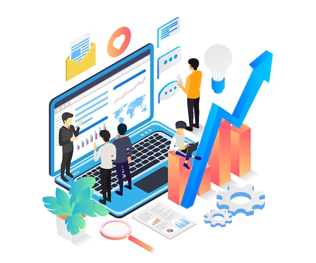Isometric style illustration of website seo data analysis with character and laptop