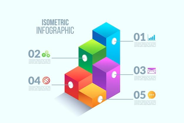 アイソメ図スタイルのインフォグラフィック要素