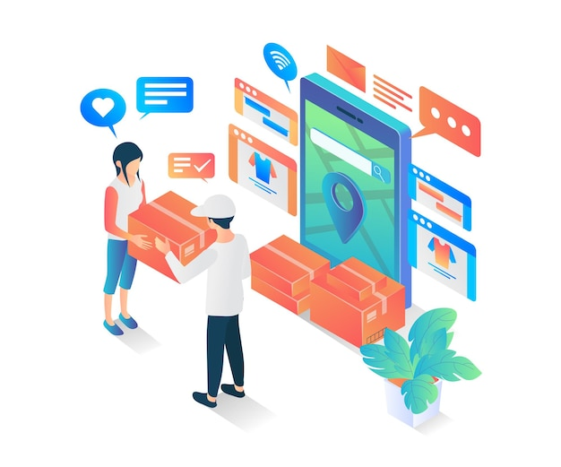 Isometric style modern vector illustration about fast delivery order