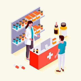 Isometric style pharmacy with people