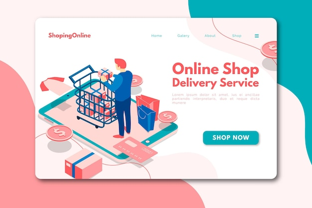 アイソメトリックスタイルのショッピングオンラインホームページ