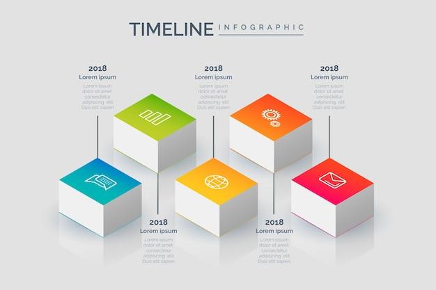Timeline di stile isometrico infografica
