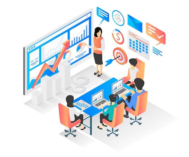 Изометрический стиль векторные иллюстрации встречи, обсуждающей экономическое развитие бизнеса