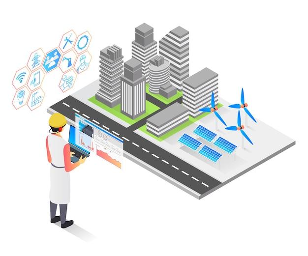 技術者による都市部のソーラーパネル設置の等角投影スタイルのベクトル図