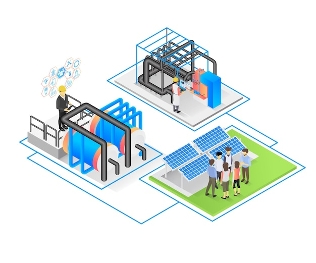Isometric style vector illustration of solar panel installation by technician and programmer