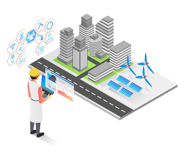 Isometric style vector illustration of solar panel installation in urban area by technician