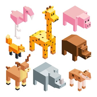 Isometric stylized 3d animals